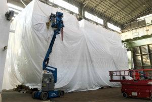 大型シュリンク梱包施工事例(プラントの海上輸送時の保護)